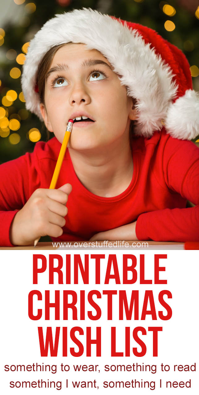 This printable Christmas wish list helps kids narrow down their lists into four categories: Things I want, things I need, something to wear, and something to read