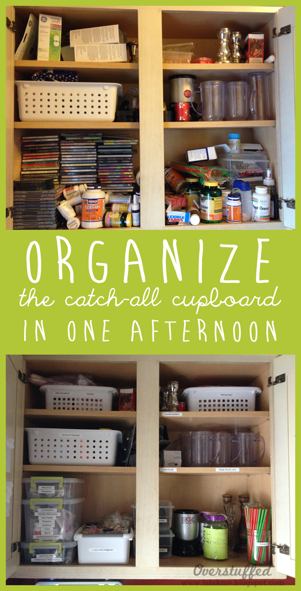 Some great ideas for organizing that out of control cupboard in the kitchen or the hallway.