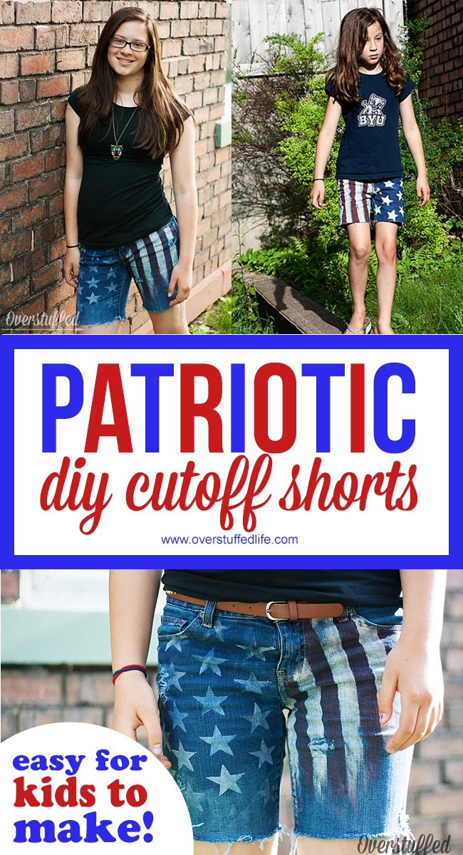 These DIY PATRIOTIC CUTOFF SHORTS are EASY TO MAKE. Perfect 4th of July CRAFT FOR KIDS that they can then wear to the 4th of July Celebrations!