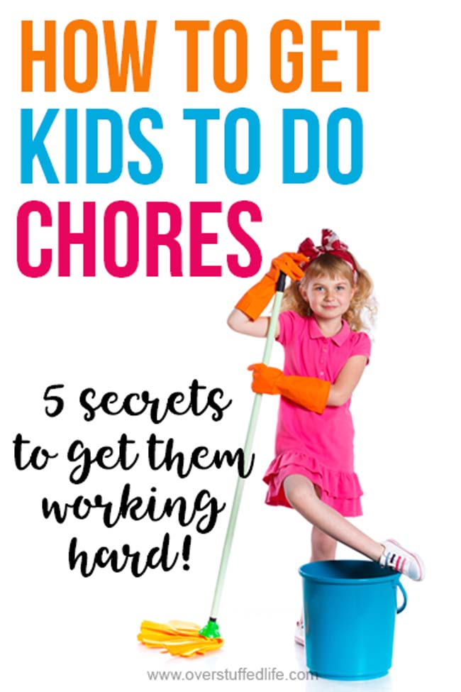 Chores for kids are a necessary part of teaching them responsibility and how to work hard. Getting kids to do chores is a necessary part of parenting that is sometimes not so easy. Use these five simple strategies to get your kids happily helping with the housework!