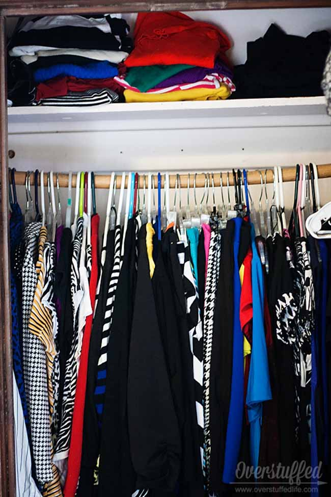 Hang your clothes in an organized manner, by color and/or type.