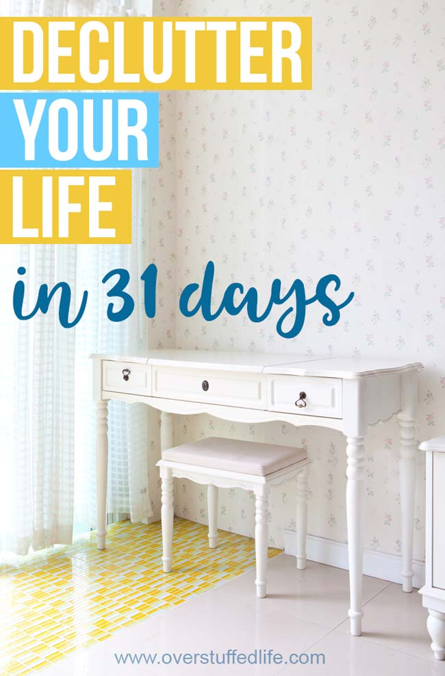 31 days to declutter your whole life—find a place for everything and get rid of what is no longer serving you. Once you have decluttered, learn tips for getting rid of the clutter and organizing the rest.
