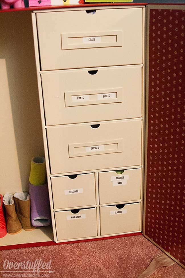 American Girl Doll Clothes Storage--make sure it's labeled!