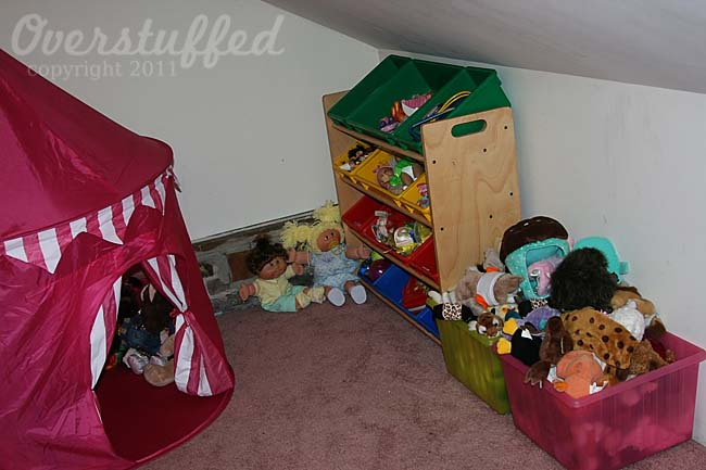 We moved the toys into a large closet so we could use the main room for other things.