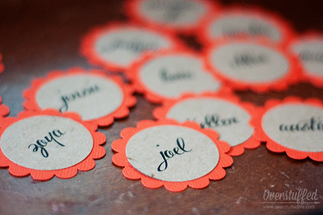 Simple place cards for Thanksgiving using punches.