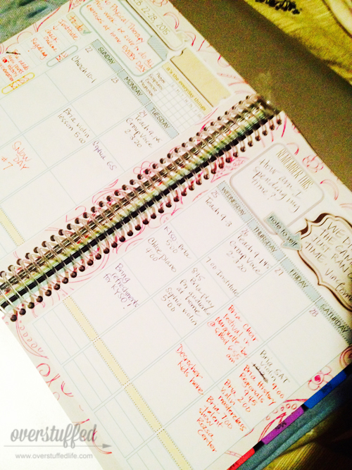 Using a Mom on the Go planner to plan my weeks out the way I like it. Best planner ever.