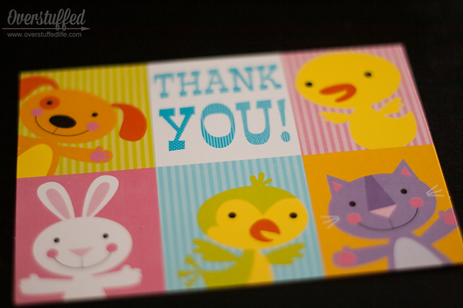Keep lots of thank you cards on hand so you and your kids can write them in a timely manner