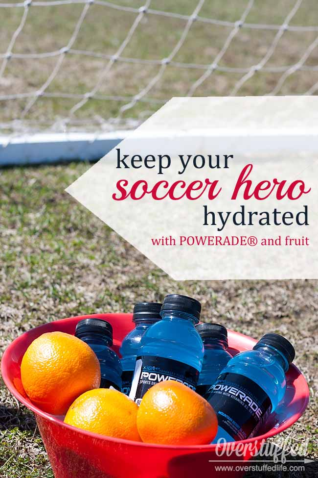 Keep your soccer hero hydrated with foods and drinks that have been proven to replenish the electrolytes lost during play. Also, make a fun mesh soccer snack kit to hand out at soccer practices and soccer games. #overstuffedlife