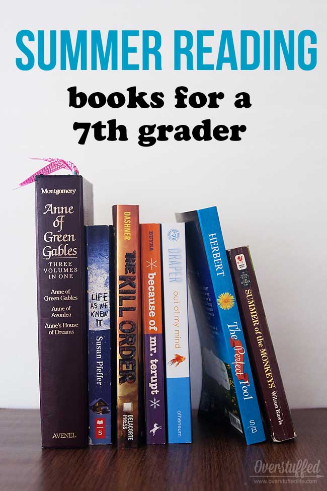 Reading over the summer helps prevent summer learning loss. A list of age-appropriate books for a teen who will be a seventh grader in the fall.