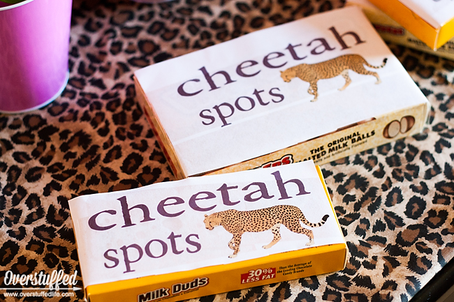 """Use candies like whoppers, rolos, or milk duds to be """"cheetah spots"""" for cheetah themed party favors. Free printable download. #overstuffedlife"""