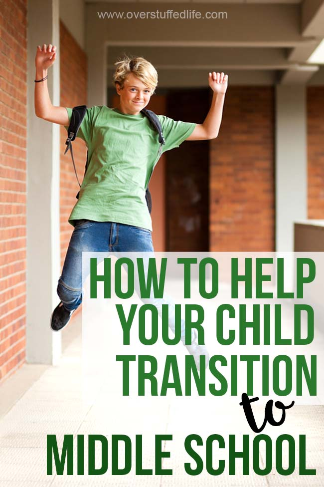 The big school transitions can be just as difficult for the parents as they are for the kids. Here are some ways to make starting Kindergarten, middle school, and high school easier for everyone! #overstuffedlife