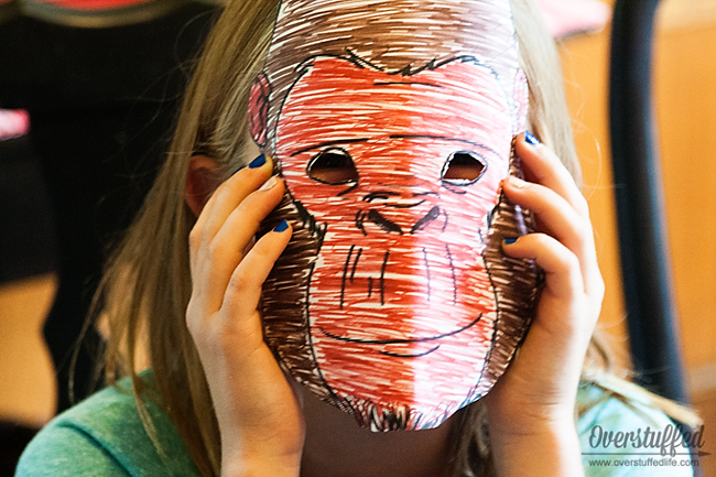 Activity idea for a book club to discuss The One and Only Ivan: Making gorilla masks.