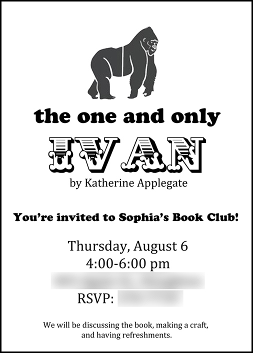 Invitation idea for a book club to discuss The One and Only Ivan