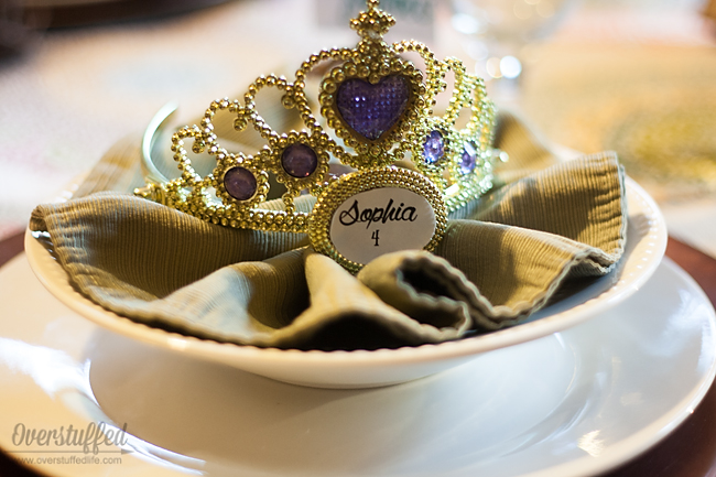 Place setting and crown for back-to-school feast.
