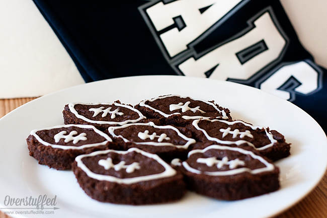 Gluten-free fudgy brownies. Easy to make, and very delicious! Make them football shaped for your next game day party!