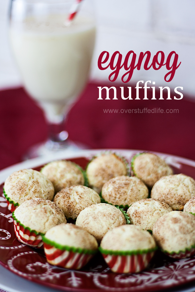 Eggnog Muffin recipe. Such a great way to bring some Christmas cheer to your breakfast this holiday season! #overstuffedlife
