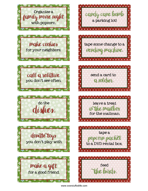 25 Days of Kindness printable cards for your advent calendar.