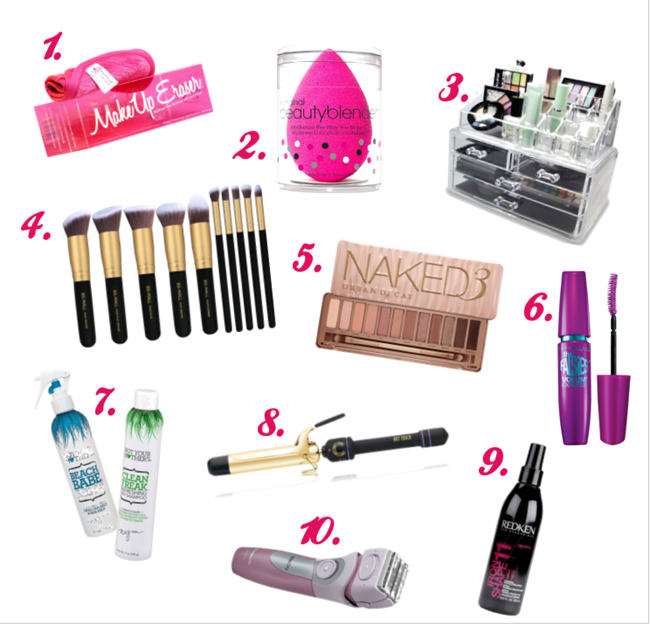 Make-up and hair care gifts for the teenage girl. #overstuffedlife