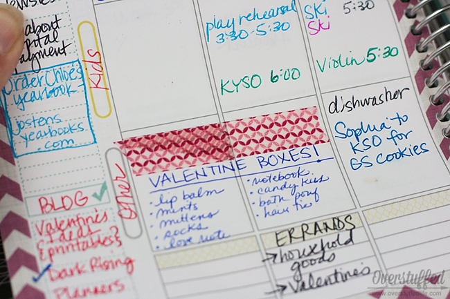 Washi tape in a planner.