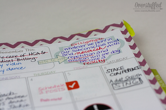 Keep your goals and resolutions close to you buy choosing inspiring quotes and writing them in your planner each week.