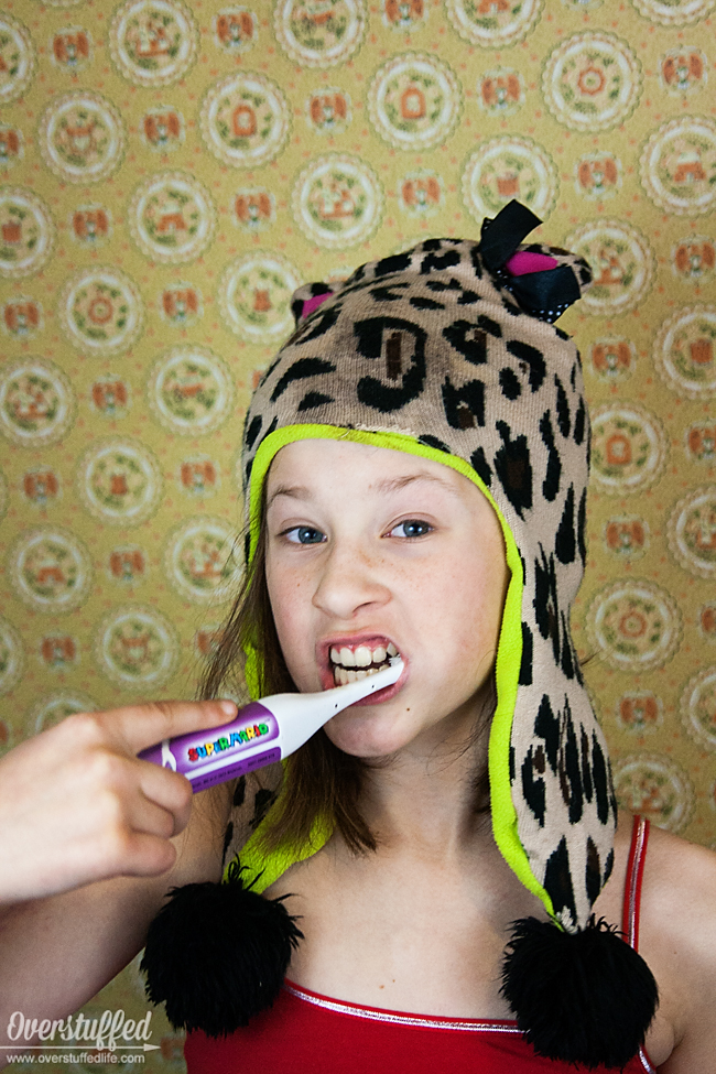 Tired of nagging your kids to brush their teeth? Embarrassed to go to the dentist because they don't do it? Try this trick and make tooth brushing fun! #overstuffedlife