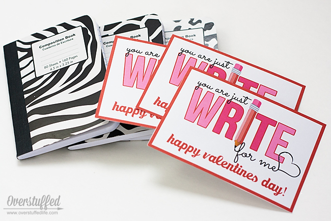 "Super cute Valentine's Day printable for use with notebooks, pencils, or other writing utensils. ""You're just WRITE for me"" #overstuffedlife"