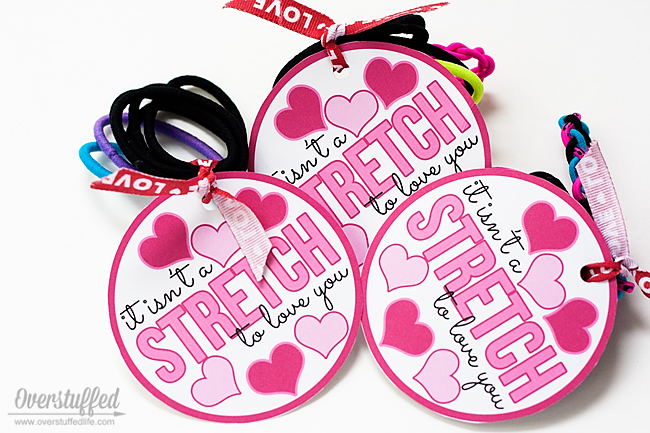 Give your Valentine some hair ties and pair them with this adorable Valentine's Day printable: It isn't a STRETCH to love you. #overstuffedlife