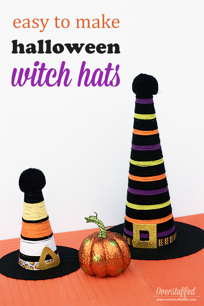 These Halloween witch hats are made of yarn and a few other craft supplies. They are easy to make and better yet, they are totally adorable! Such a cute addition to your Halloween decor!