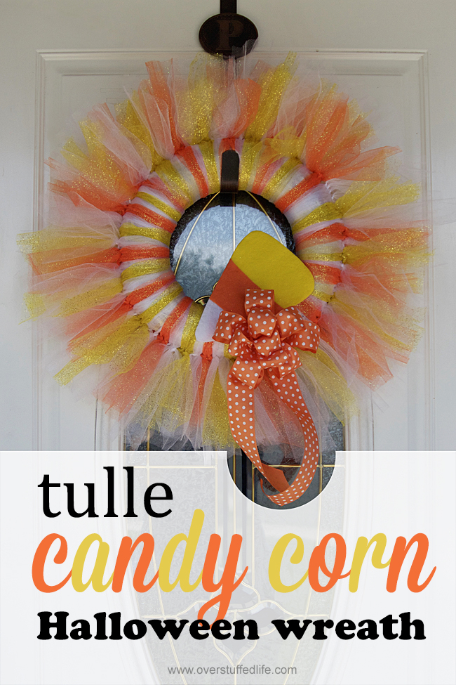 Make this delightful candy corn tulle Halloween wreath this year. It's simple to make and you'll have the most adorable decorations on the block!