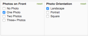 Minted allows you to narrow the card selection by number of photos and photo orientation