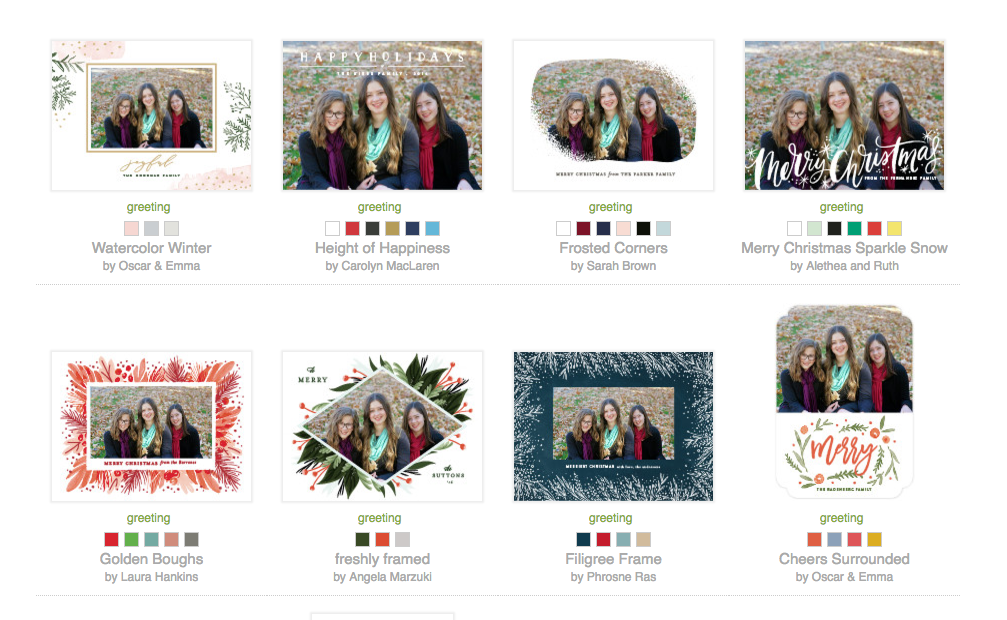 Minted allows you to see your photo in all cards at once.