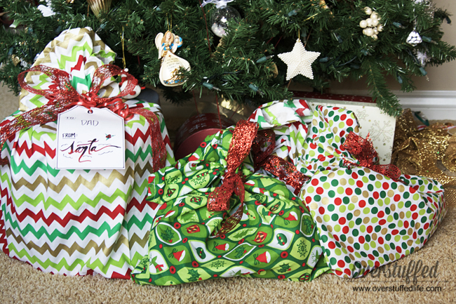 Santa bags | santa bag tutorial | how to wrap oddly shaped gifts | tied with ribbon | sewing tutorial