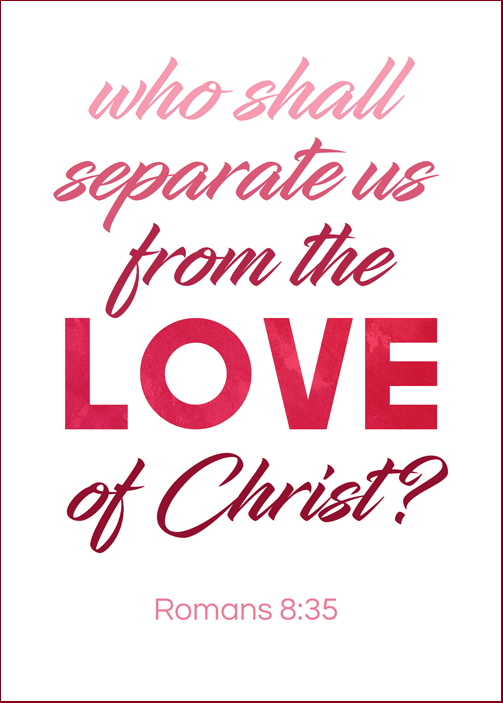visiting teaching printable handout | February 2017 visiting teaching message | LDS | Romans 8:35 | Love | Atonement of Christ | visiting teaching handout | free printable download