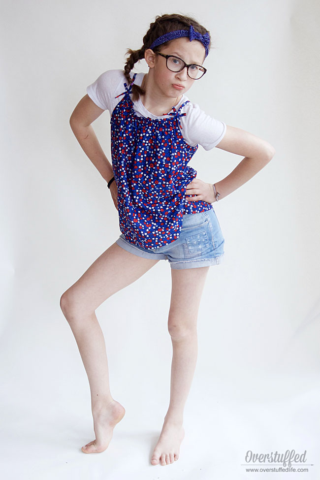 OshKosh patch denim shorts and red white and blue tanktop