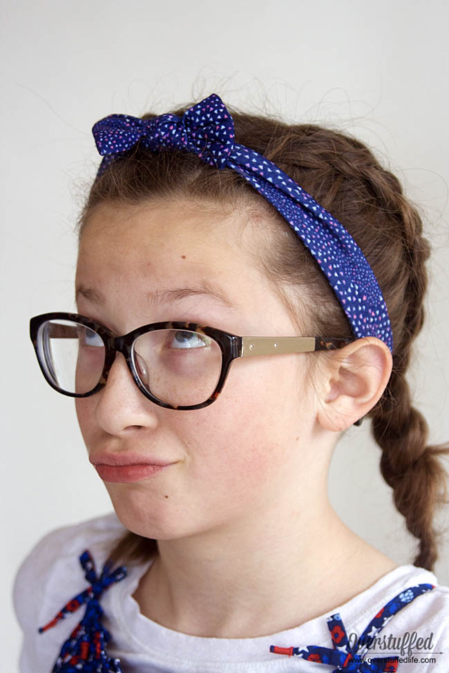 OshKosh blue floral headwrap with bow