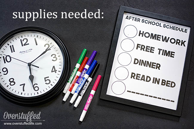 Supplies needed for erasable after school routine clock: Dry erase markers, printable, 8x10 frame, and clock