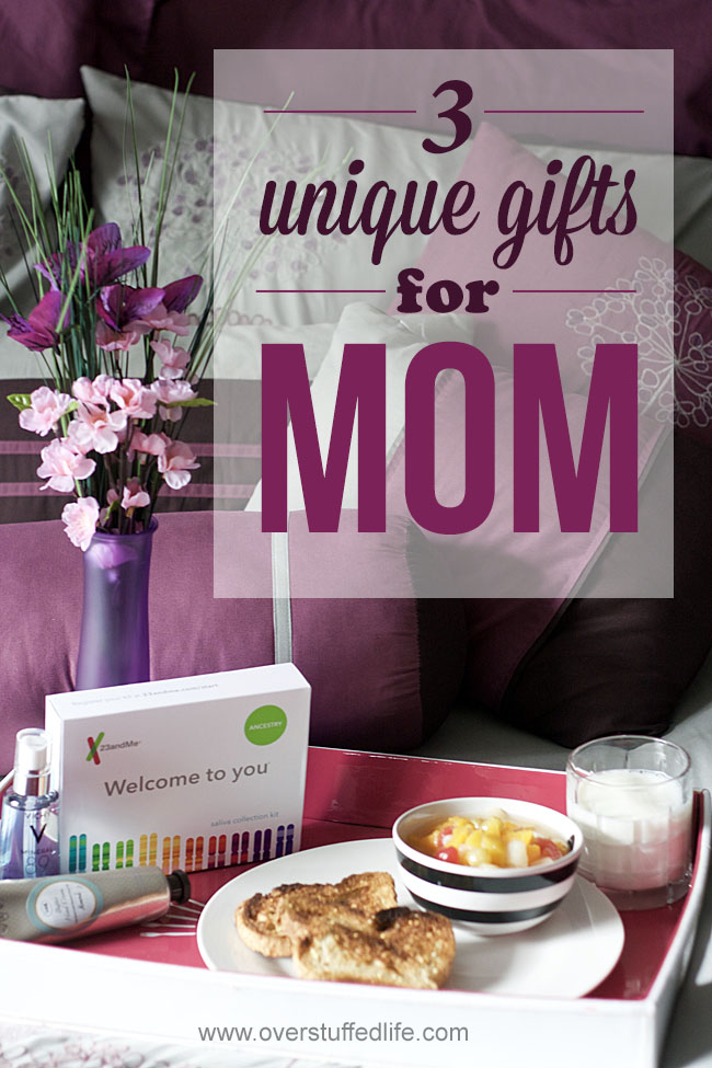 Mother's Day gift ideas—3 unique gifts your mom will really like. Pampering spa gifts and an unexpected DNA test that she would never buy for herself!