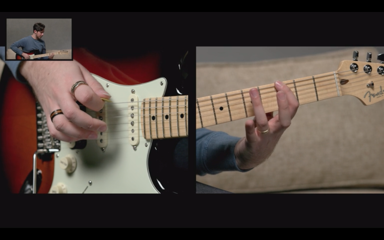 Fender Play's split screen technology makes it easier to learn to play the guitar online.