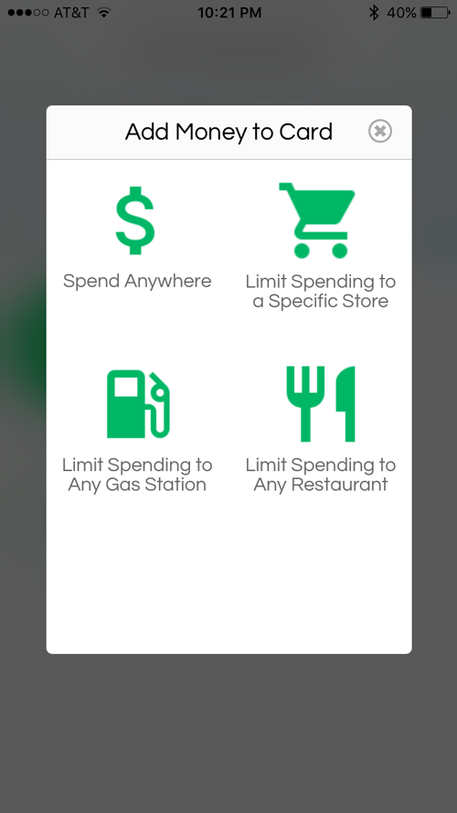 Greenlight app--how to add money to a card and designate spending category