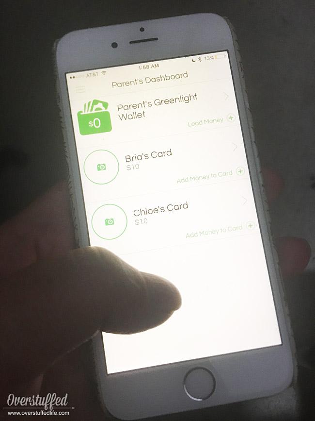 Greenlight app-parent's wallet