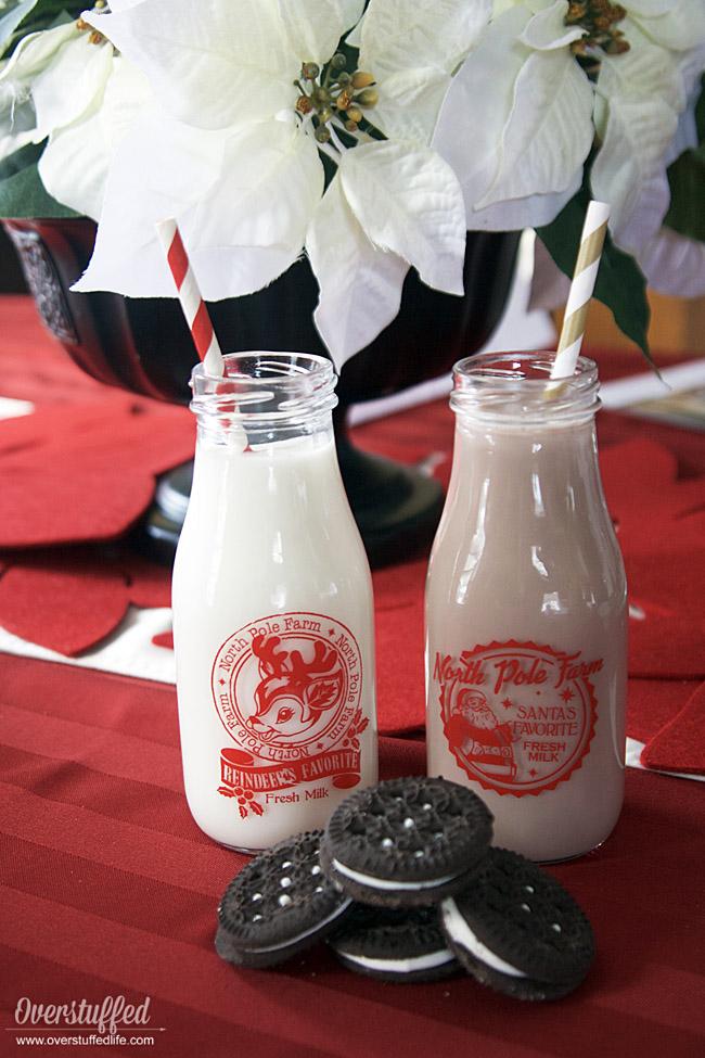 Santa and Reindeer glass milk bottles from Cracker Barrel