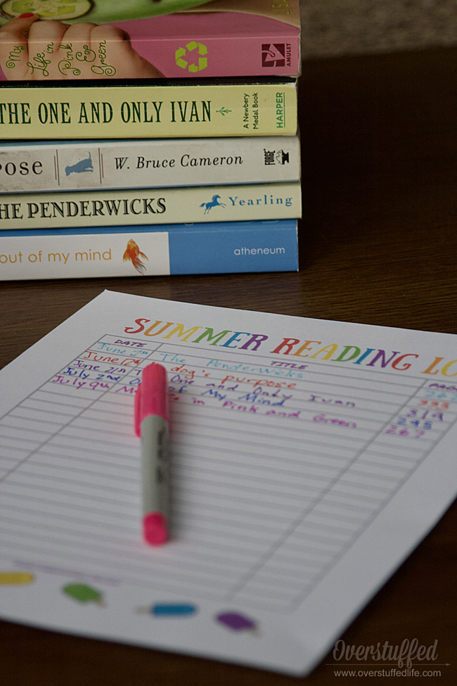 Use this printable summer reading log to get kids excited about reading this summer break