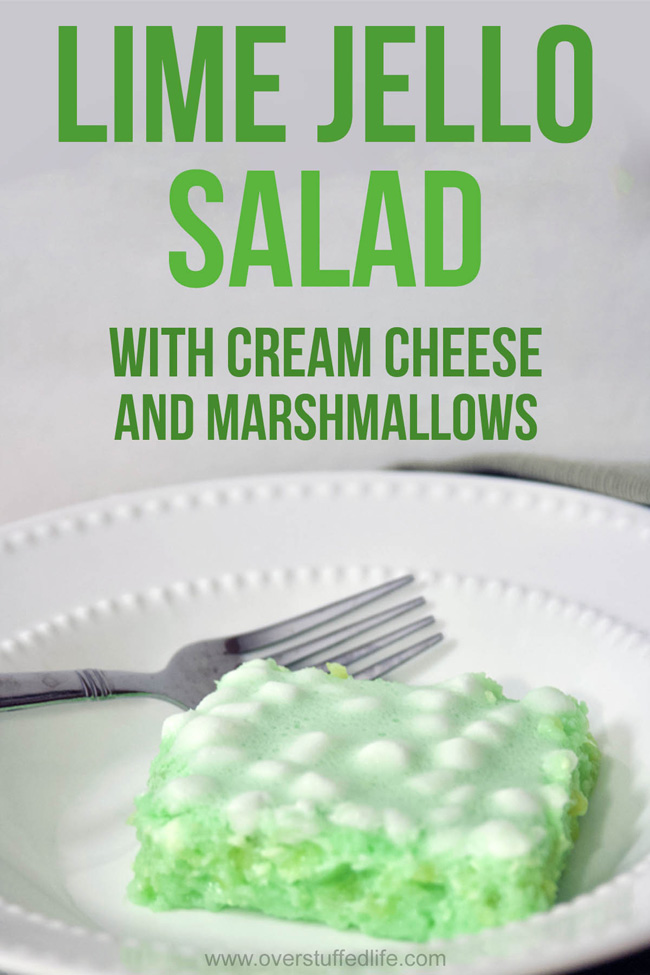 Recipe for green jello salad. Contains lime jello, cream cheese, marshmallows, and crushed pineapple