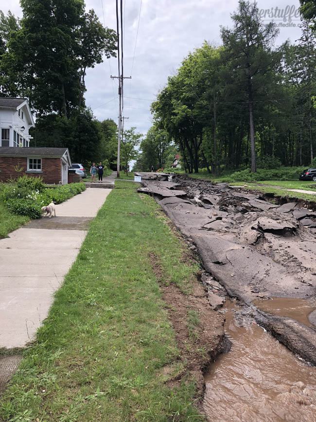 The damage looking up Agate Street from the Father's Day Flood