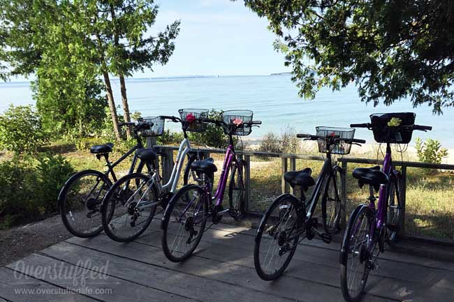 Biking around Mackinac Island is an inexpensive way to enjoy the island and see several sites. It only takes a couple of hours to bike the 8.2 miles around and is a favorite tourist activity.