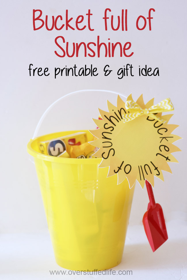 Download this FREE PRINTABLE and brighten someone's day with a bucket full of yellow goodies from the Dollar Store! Makes a great teacher appreciation gift or a just because gift for anyone!