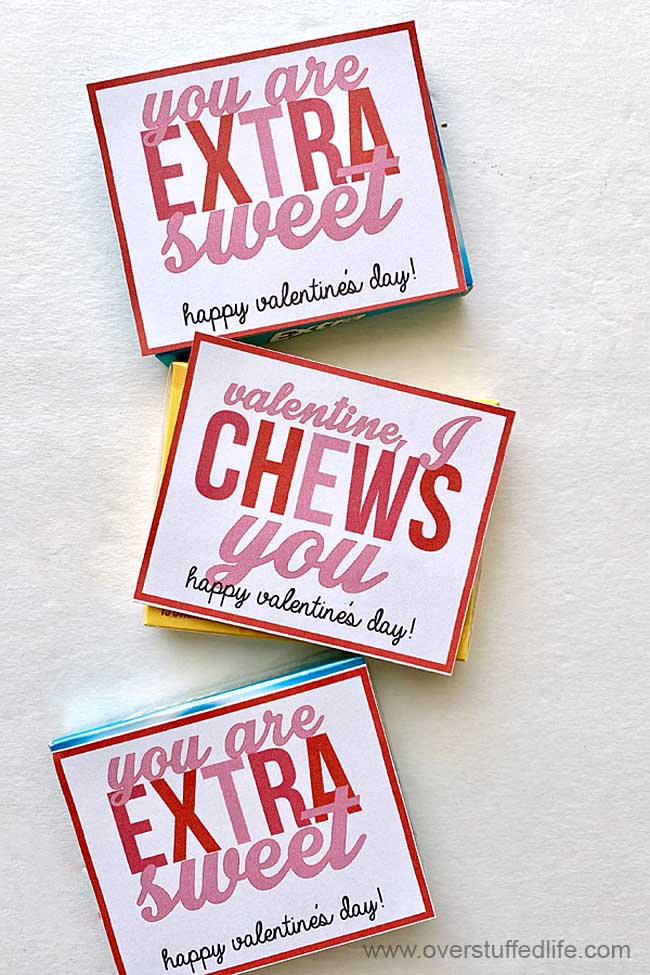 VALENTINE, I CHEWS YOU and YOU ARE EXTRA SWEET. Two printables to use with chewing gum for Valentine's Day.