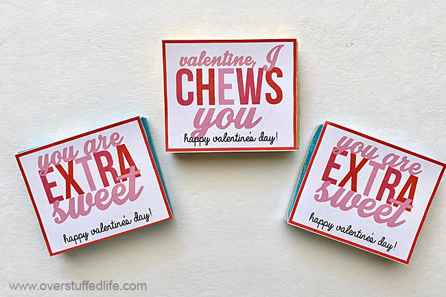 Printables to use with chewing gum for Valentine's Day.