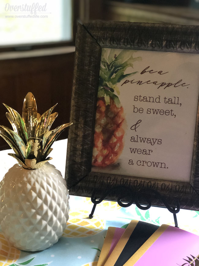 Back to School Feast and Family Theme: Be a Pineapple -Stand Tall, Be Sweet, and Always Wear a Crown.Download this free inspirational printable as a home decor item or for your own family theme!
